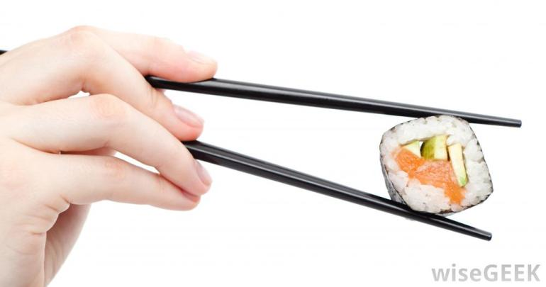 black-chopsticks-with-sushi