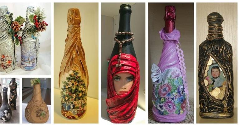 Aprende cómo decorar botellas de vidrio con medias nylon o ...